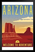 Arizona Welcome to Adventure Retro Travel Art Black Wood Framed Art Poster 14x20