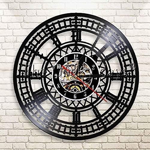 YDDLIE Disco de Vinilo Reloj de Pared Reloj de Vinilo Reloj de Pared de Londres Reloj de Pared 3D Reloj de Pared de gramófono de Londres