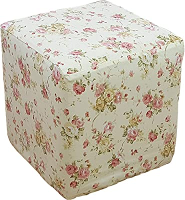 "PLAFUETO Canvas Ottoman Cover Square Ottoman Slipcover Cotton Footstool Protector Storage Ottoman Covers Furniture Protector Home Decor Beige 17.7""x17.7"""