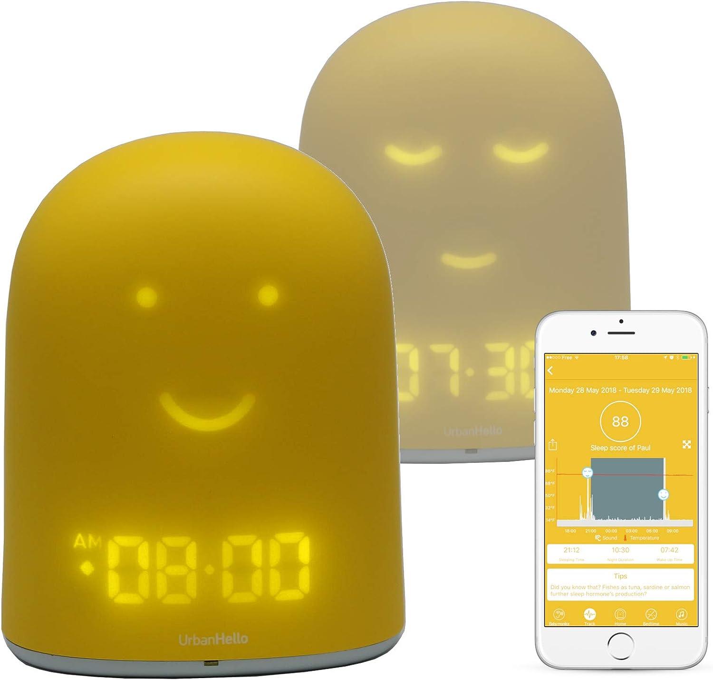 REMI - The Best Ok to Wake Children Clock - Sleep Trainer - Sleep Tracker - Audio Baby Monitor - Night Light & White Noise Sound Machine - mp3 and Streaming Music Speaker - Time-to-Rise Face - Yellow