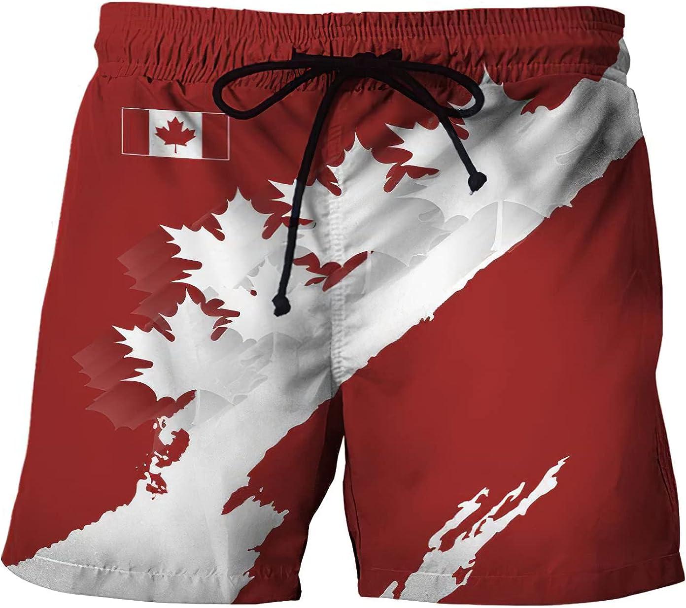 Canadian Maple Leaf Men's Short Swim Trunks Swimming Short Quick Dry Funky Summer Beach Shorts Holiday Beachwear Swim Trouser Shorts Pants