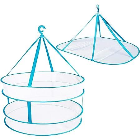 物干しネット 洗濯物用干しネット 平干しネット 特大 折りたたみ収納 吊り下げ式 衣類型くずれ防止 ぬいぐるみ 抱き枕 まくらの天日干し, 2個セット ブルー