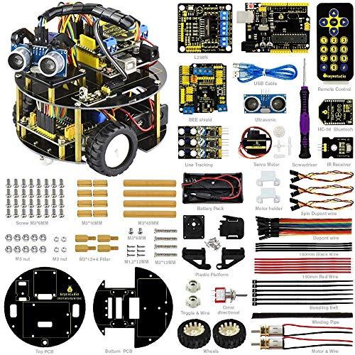 KEYESTUDIO Bluetooth a ultrasuoni Smart Car Robot Starter Kit Fai da Te atmega-328p for Arduino Uno