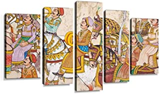 XEPPO Art Decorating a Wall in udaipur in The Rajasthani Tradition Prints Canvas Wall Art Abstract Landscape Photography Paintings for Modern Home Decor 5Pcs Modern Stretched and Framed