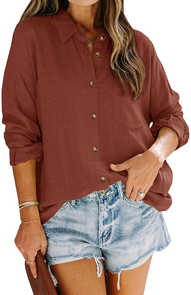 Womens Casual Plaid Blouses Chiffon Button Down Tunic Shirts Tops with Pockets