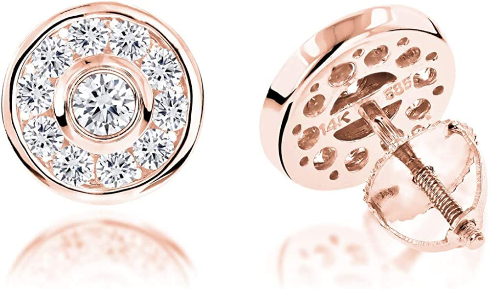 Circle Round Diamond Studs Earrings 1ctw in 14k Gold by Luxurman