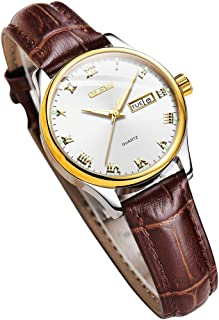 Womens Wrist Watches Ladies Female Leather Band Brown Fashion Gold Waterproof Casual Stainless Steel Quartz Gift
