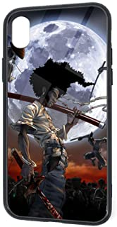 Compatible with iPhone XR, Afro Samurai Fashion Anime Themed Moon Ninja Poster Cute Soft TPU Raised Edge Slim Cover Case, Snowproof Full Protective Case for iPhone XR 6.1 Inch (2018)