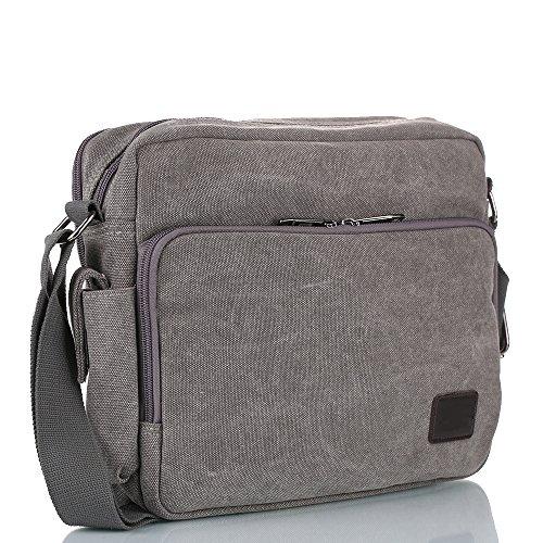Messenger Bag, Unisex Vintage Canvas Messenger Bags Casual Spalla Dell'imbracatura Pacchetto Daypack Bauletto per Lavoro, a Scuola, Uso Quotidiano - Grigio