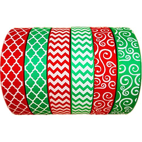Christmas Ribbon 30 Yards(6 X 5yds) 1 Inch Red Green Grosgrain Ribbon Chevron Swirl Quatrefoil Printed