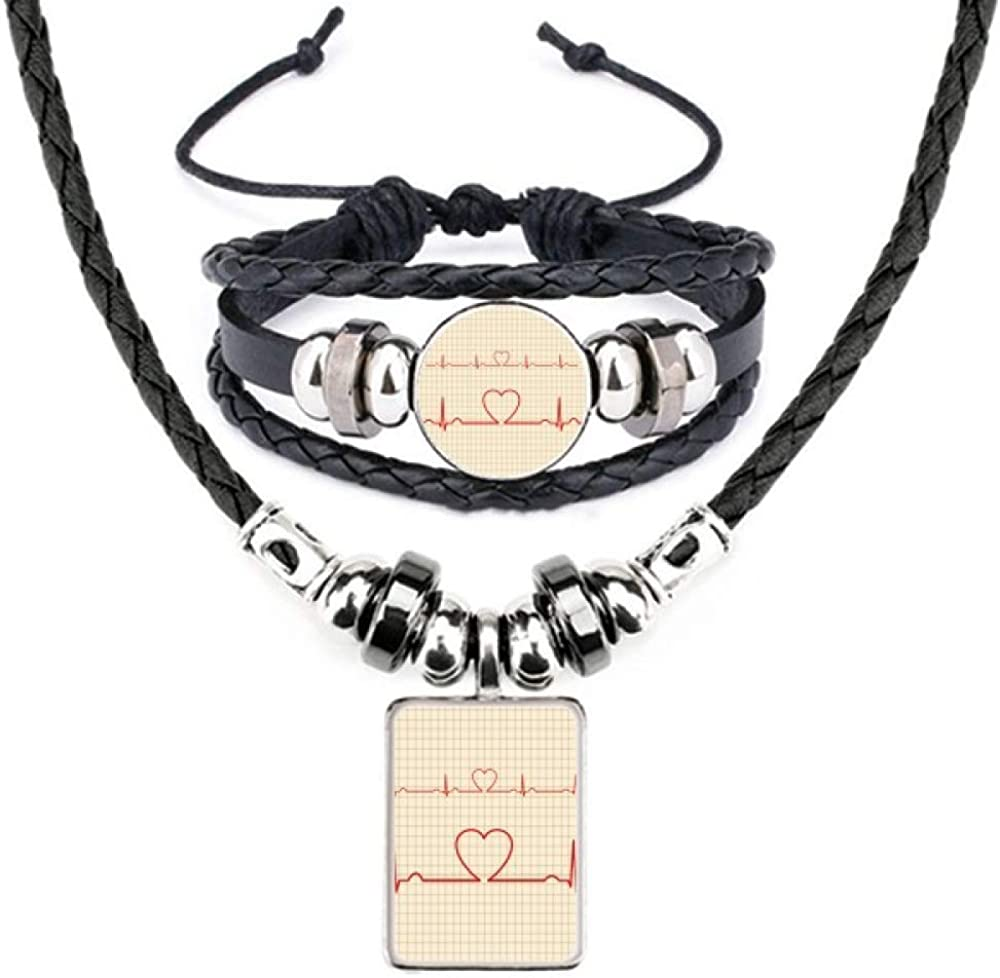 Electrocardiogram Heart Design Pattern Leather Necklace Bracelet Jewelry Set