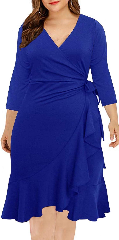 BEDOAR Women's V-Neck 3/4 Sleeve Plus Size Knee-Length Sheath Ruffle Cocktail Work Faux Wrap Dress