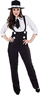Womens 20s Gangster Costume Mobster Mafia Pinstripe Dungaree Suit