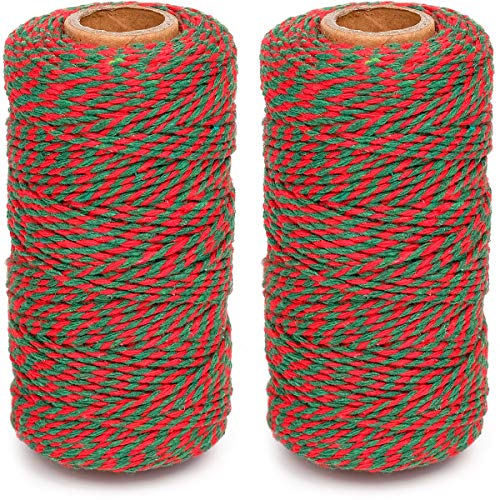 Eison Holiday Twine Bakers Twine Cotton Bakery String Red and Green Twine Rope Cord for Baking, Butchers, and Holiday Gift Wrapping, Arts Crafts 656 Feet (Total 2 Rolls)