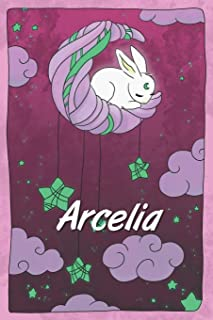 Arcelia: personalized notebook sleeping bunny on the moon with stars softcover 120 pages blank useful as notebook, dream d...