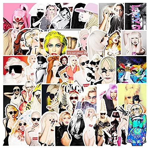 YZFCL Snger Lady Gaga PVC Series Stickers Voyage Valise Murale Boîte à Crayons Vélo Téléphone Plateau Coulissant Graffiti Style Stickers