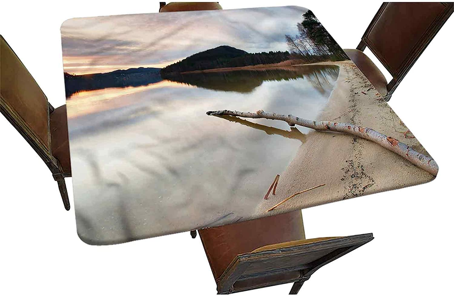 High quality Driftwood Decorative Elastic Edged Square Lake Tablecloth Atlanta Mall Fitted