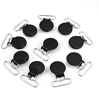 Universal Round Suspender Braces Pacifier Strap Holder Clip Durable for DIY Making Leather Craft Supplies - 10Pcs & 25mm(Black)