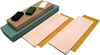 Strop Block Kit. 2 Leather Honing Strops 3 Inch by 8 Inch + MDF block + 3 One Oz. Black, Green & White Sharpening Polishing Compounds + Double-Sided Adhesive Tapes. All-in-one by Upon Leather