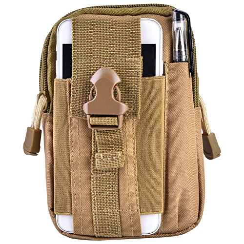 Tactical Molle Pouch Bag, Outdoor Camping Portable Multifunzionale Utility Camouflage Marsupio Pack Cell Phone Holster Holder Belt Bag sostituzione per Uomo Donna Youth(Khaki)