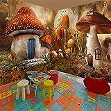 Papel Pintado Panorámico 3D Personalizado No Tejido Fondo De Pantalla 3D De Simulación De Escape De Cámara De Dormitorio De Niños Con Temática De Dibujos Animados De Casa De Setas De Cuento De Hada