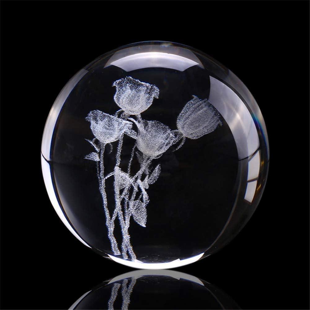 YXZQ Earth Four Leaf Clover Rose Ball 特売 超歓迎された Engraved Crystal Miniatu