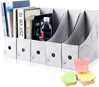 comprar comparacion HINATAA Caja de Almacenamiento de la Oficina Revistero,5 PCS Porta Revistas Kraft A4 Organizador de Papel,Organizador de D...