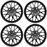 Cover Trend (Set of 4), Universal Aftermarket, 16' Matte Black Hub Caps Wheel Covers