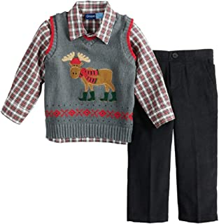 Great Guy Toddler Boy Moose Knit Sweater Vest, Plaid Shirt & Corduroy Pants Set Size 2T Gray/Red