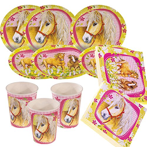 Unbekannt 36-teiliges Party-Set Pferde - Charming Horses - Teller Becher Servietten für 8 Kinder