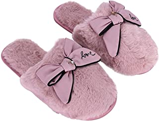 Women's Lovely Fluffy Slippers Winter House Slippers Soft Comfy Home Plush Slipper Non Slip Breathable Slip On Shoes Thermal Cute Casual Bedroom Slipper Full Cover Faux Fur Indoor Shoes with Bowknot