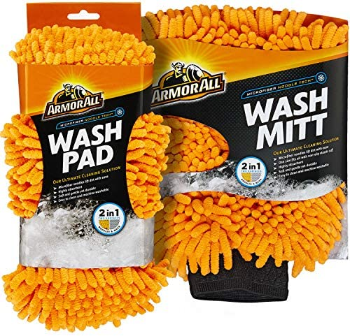 Armor All Microfiber Noodle Tech Car Wash Mitt and Pad Highly Absorbent Cleaner for Bugs and product image