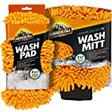 Armor All Microfiber Noodle Tech Car Wash Mitt and Pad, Highly Absorbent Cleaner for Bugs and Dirt, Machine Washable, 19259