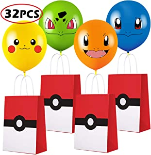 Game Theme Birthday Party Gift Bags with Balloon for Pokemon Party Supplies Birthday Party Decorations - Party Favor Goody Treat Candy Bags for Nintendo Game Kids Adults Birthday Party Decor