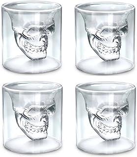 スカルショットグラス、4のセット2.5Oz (75ml) クリスタルメガネ、バーDrinkingガラスマグカクテルスカルヘッドVodka Whiskeyクリエイティブワインガラス