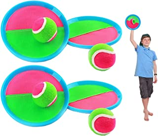 Toss and Catch Ball Set Paddles and Toss Ball Sports Game with 4 Paddles 4 Balls for Sports, Beach and Party Favor,Perfect...