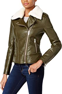 French Connection Womens Detachable Faux Fur Collar Pleather