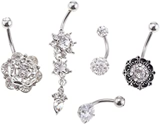 HOMYL 5 Pcs Vintage 14G Stainless Steel Dangle Floral Belly Button Rings Navel for Women Barbell Piercing Set