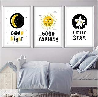 QYH Nordique Dessin Animé Soleil Lune Étoiles Bonjour Bonjour Bonne Nuit Enfants..