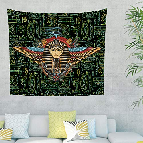 Wingard Leviosar Tapestry Ancient Egypt Pyramid Mask Bohemian Wall Art - Beach Blanket for Home Decorations white 79x59inch