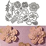 Troqueles de Corte de Flores, Troqueles de Corte de Metal DIY Scrapbooking Papel Estampado Troquelado Plantillas de Corte de Metal Troqueles de Metal para Scrapbooking, Relieve, Álbum