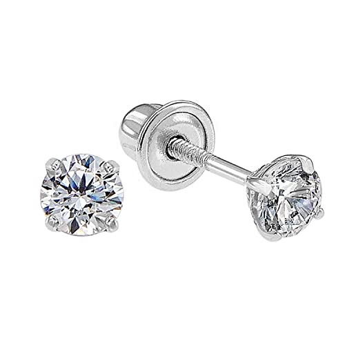 76bd56245 14k White Gold Solitaire Round Cubic Zirconia CZ Stud Earrings in Secure  Screw-backs