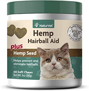 NaturVet – Hemp Hairball Aid For Cats - Plus Hemp Seed – 60 Soft Chews – Helps Prevent & Eliminate Hairballs – Enhanced with Hemp Seed & Psyllium Husk – 30 Day Supply