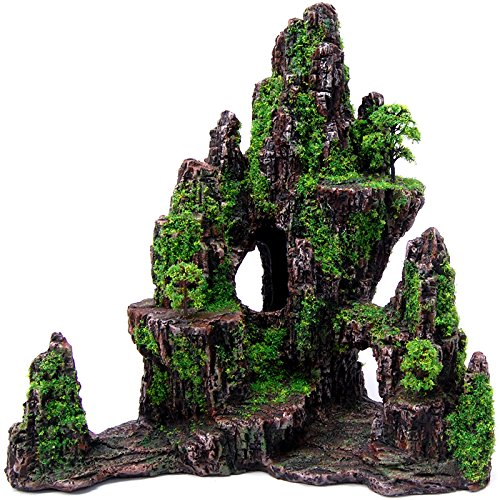 All Pond Solutions Moss Covered Mountain/Cliff Aquarium Fish Tank Ornament (62345)