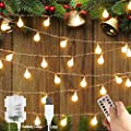 Globe Ball String Lights, Fairy String Lights, 8 Modes with Remote, Decor for Indoor Outdoor Party Wedding Christmas Tree Garden, Warm White