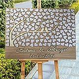PotteLove - Libro de invitados en 3D para boda, diseño de árbol del amor y fecha de boda, diseño rústico con corazones y hojas, árbol de la vida
