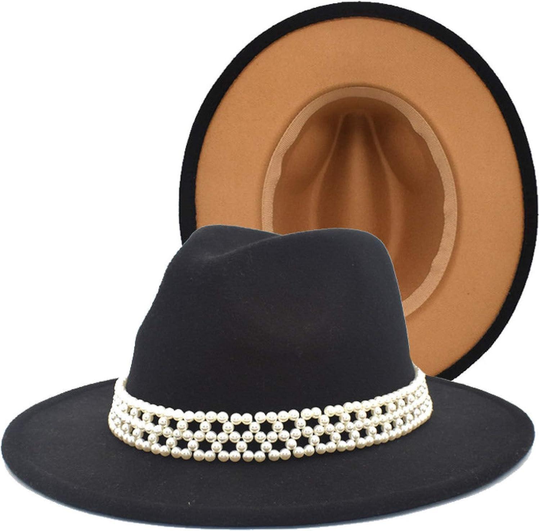 ASO-SLING British Style Solid Color Fedoras Elegant Womens Pearl Jazz Hat Wide Brim Wool Felt Panama Hat Formal Dressy Hat