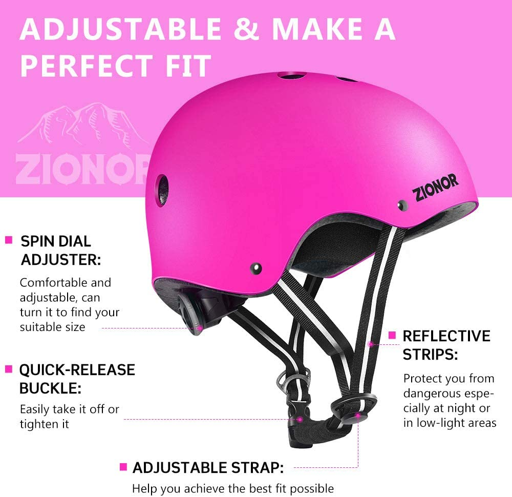 Comfortable Wearing for Skateboarding//Roller Skating//Inline Skating//Scooter ZIONOR Skateboard Helmet for Kids//Youth//Adults