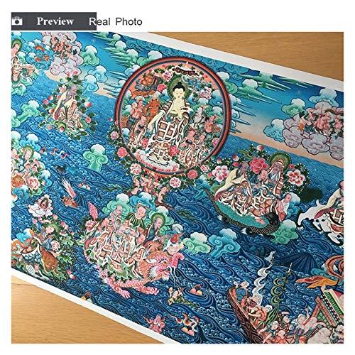 Tibetisch Sakyamuni und Arhat Thangka Tibet Klassische Kunst Kopie Buddhismus Buddha Statue Leinwand Druck Malerei Poster Wandbilder Wohnkultur ( Color : Kostenlos , Size (Inch) : 70x140cm No Frame )