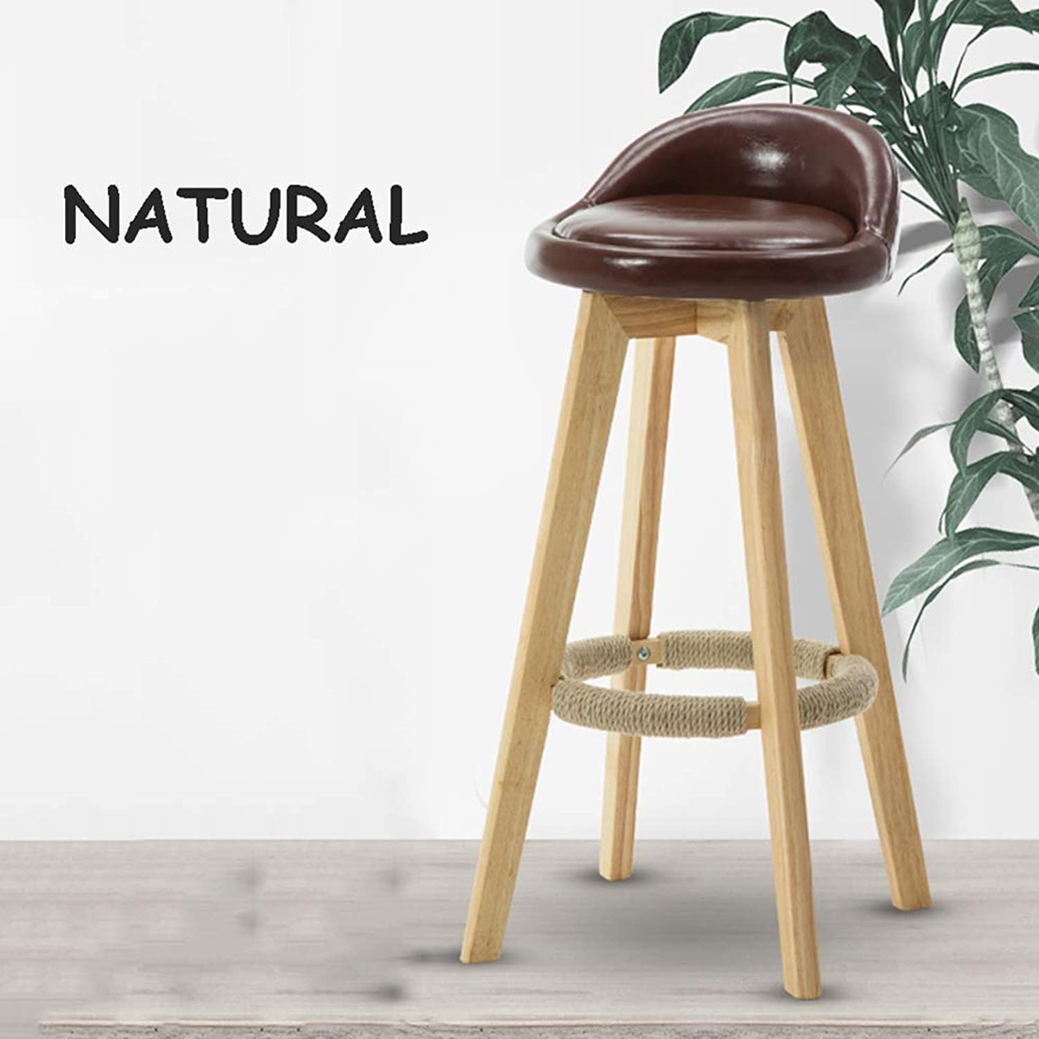 High Chair, Simple Home Solid Wood Chair High Stool Bar Chair, Bench Back Leisure Chair, 73 cm